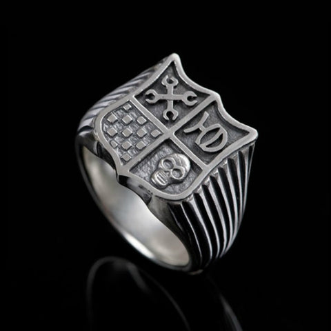 Hoye Division Silver Classic Shield Signet Ring