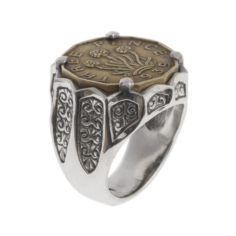 Hoye Division Silver Large Three Penny Bit Signet Ring