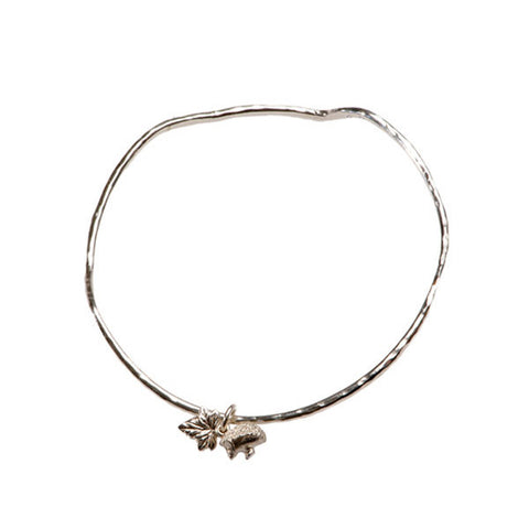 Woodland Creatures Silver Bangle With Tiny Hedgehog And Ivy Leaf Charms