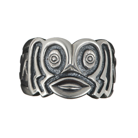 Hoye Division Silver Tiki Oval Mouth Ring
