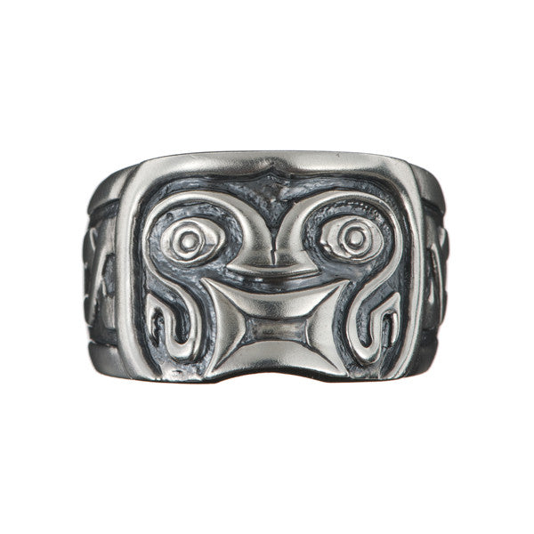 Hoye Division Silver Tiki Square Mouth Ring
