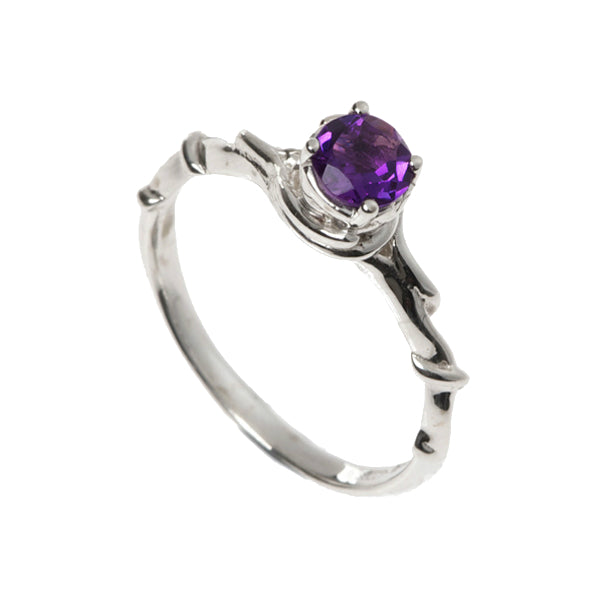 Entwine Silver Ring With Amethyst