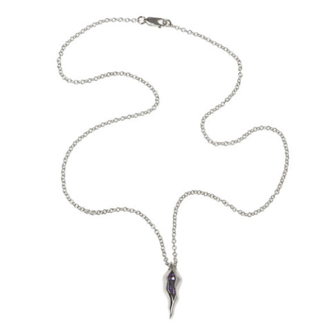 Triffid Silver Necklace with Purple Cubic Zirconia
