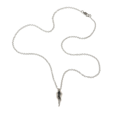 Triffid Silver Necklace with Black Cubic Zirconia