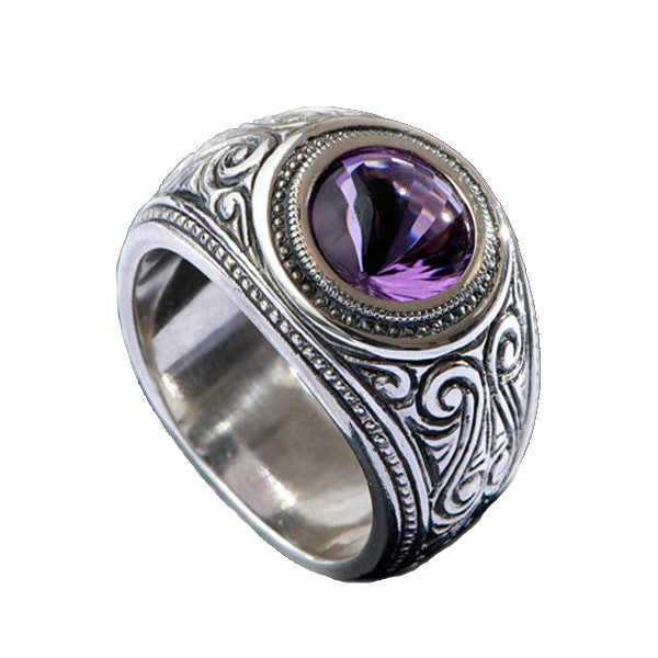 Hoye Division Traditional Engraved Amethyst Centre Round Signet Ring