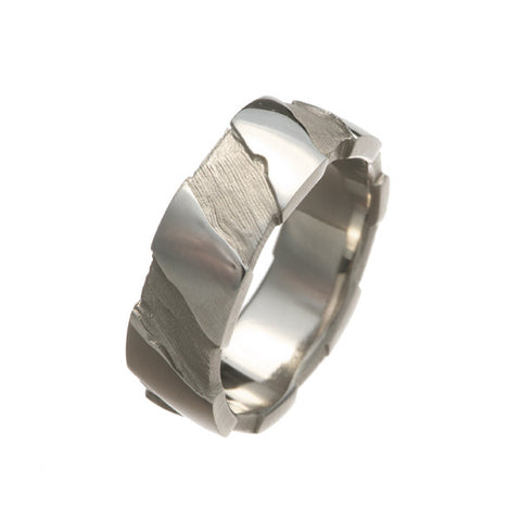 Striped Medium Ring 18ct White Gold