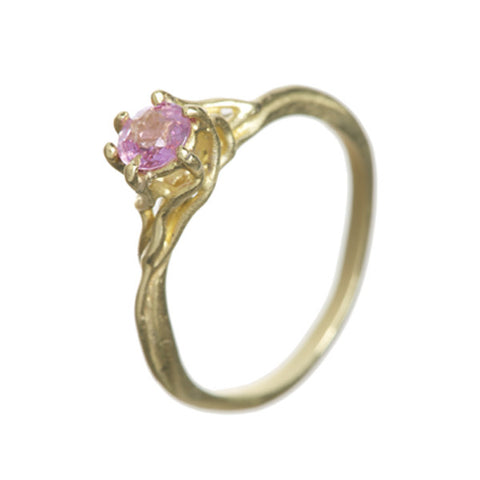 Enchanted 18ct Yellow Gold Pink Sapphire Solitaire Engagement Ring