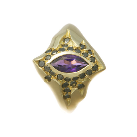 Morocco 18ct Gold Ring with Amethyst & Black Diamonds