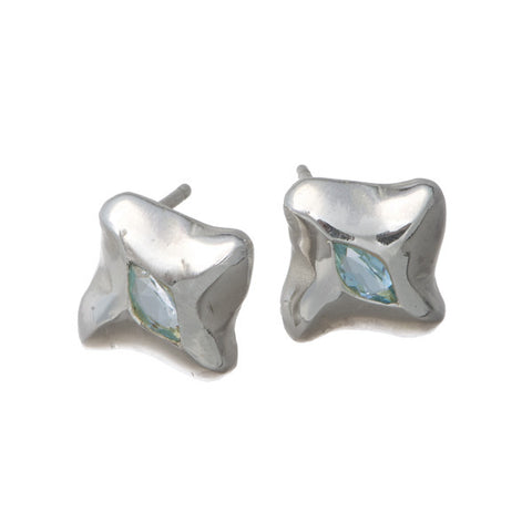 Mantaray Silver Sky Blue Topaz Ear Studs
