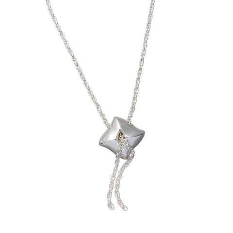 Mantaray Silver Drop Chain Necklace