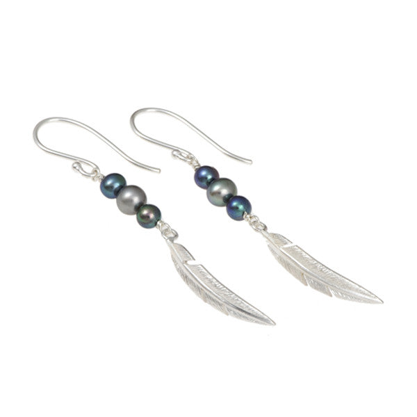 Feathers Silver Single Drops with Peacock Pearls
