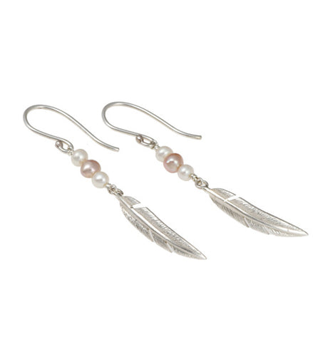 Feathers Silver Salmon Pearl Drop Earrings