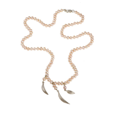 Feathers Silver Salmon Pearl Triple Drop Necklace
