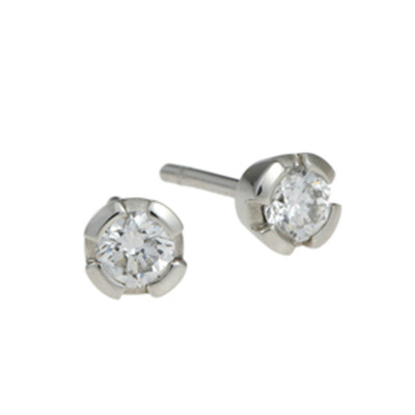 Castle Platinum 0.60pt Diamond Ear Studs