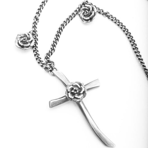 Rock 'n' Rose Silver Cross Pendant Necklace