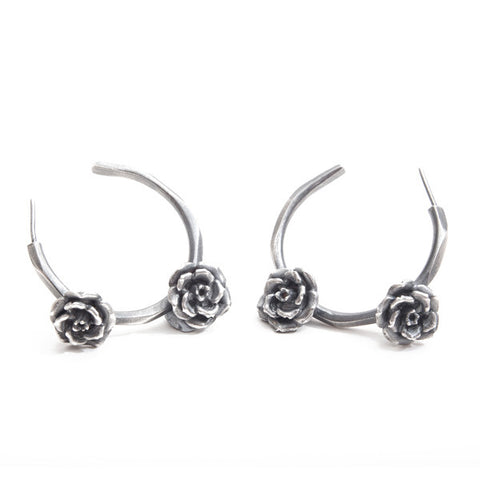 Rock 'n' Rose Silver Hoops