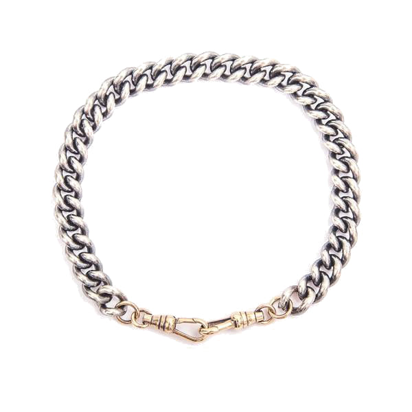 Mens Silver And 9ct Gold Curb Link Bracelet