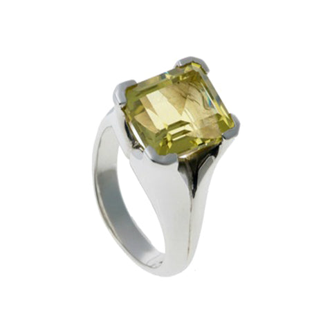 Kaleidoscope Silver Ring With Emerald Cut Lemon Quartz