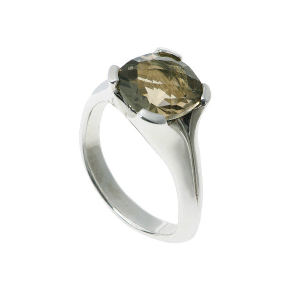 Kaleidoscope Silver Ring With Chequerboard Smoky Quartz