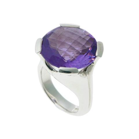 Kaleidoscope Silver Ring With Large Round Chequerboard Amethyst