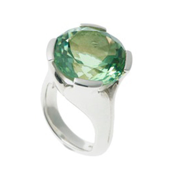 Kaleidoscope Silver Ring With Large Round Green Quartz
