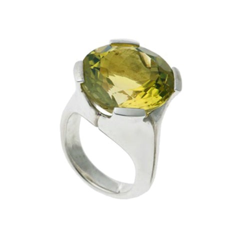 Kaleidoscope Silver Ring With Large Round Lemon Quartz
