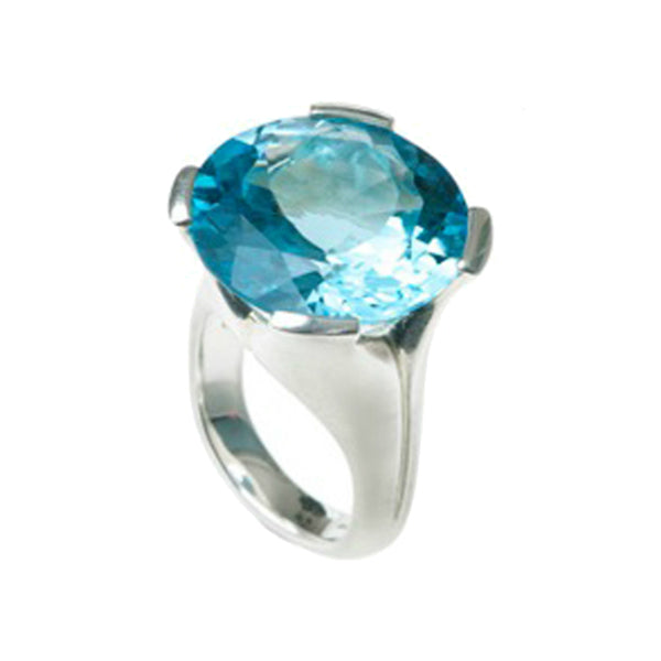 Kaleidoscope Silver Ring With Large Round Sky Blue Topaz