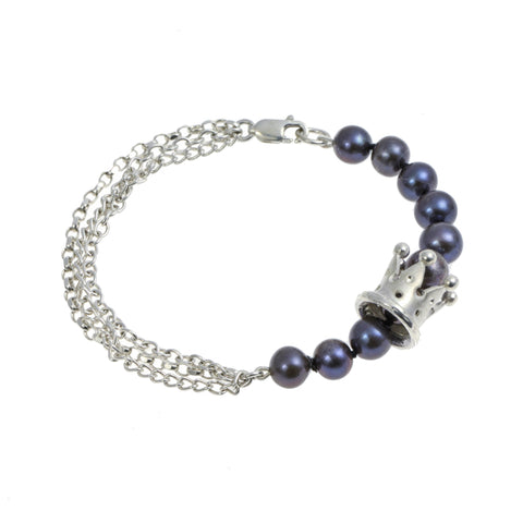 Kings & Queens Silver Peacock Pearl Bracelet