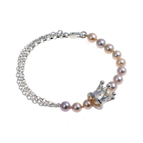 Kings & Queens Silver Cultured Salmon Pearl Bracelet