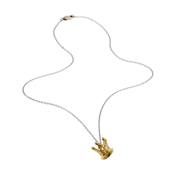 Kings & Queens 18ct Yellow Gold Crown Necklace with Diamonds