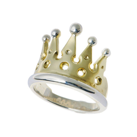 Kings & Queens Silver And Gold Plate Crown Ring