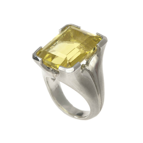 Kaleidoscope Silver Ring With Large Lemon Quartz