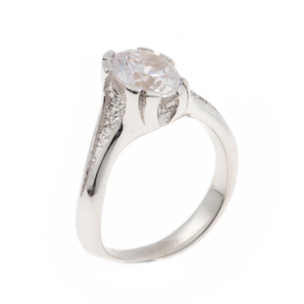 Libertine Silver Ring with Round Cubic Zirconia