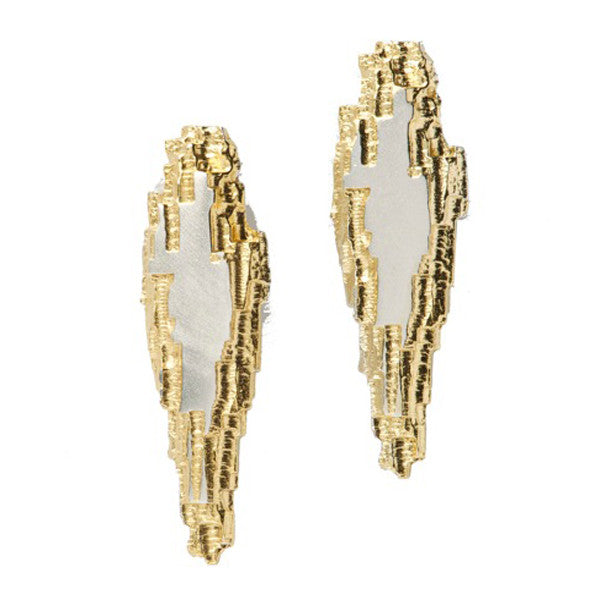 Luna Silver Long Flat Centre Studs With Part Gold Plated Detail