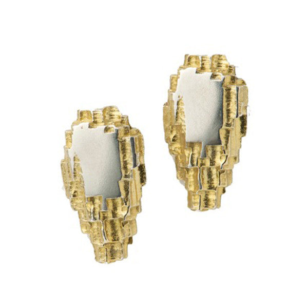 Luna Silver Short Flat Centre Studs With Part Gold Plated Detail