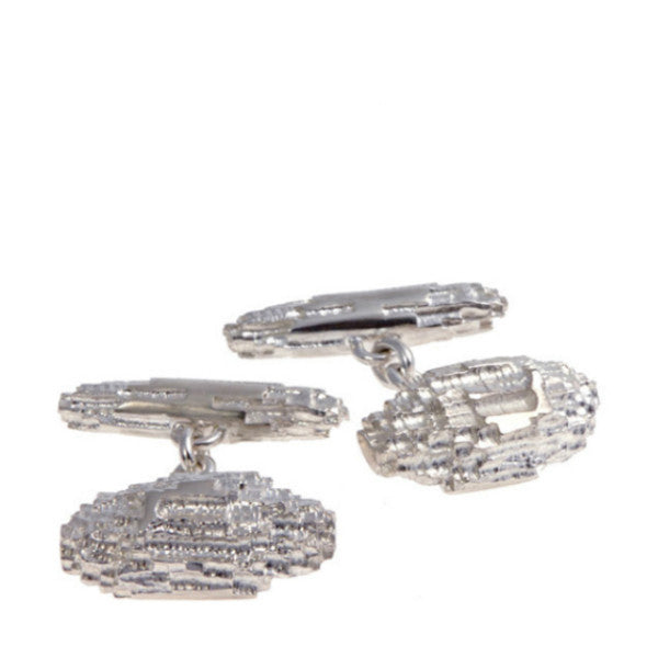 Luna Textured Silver Cufflinks