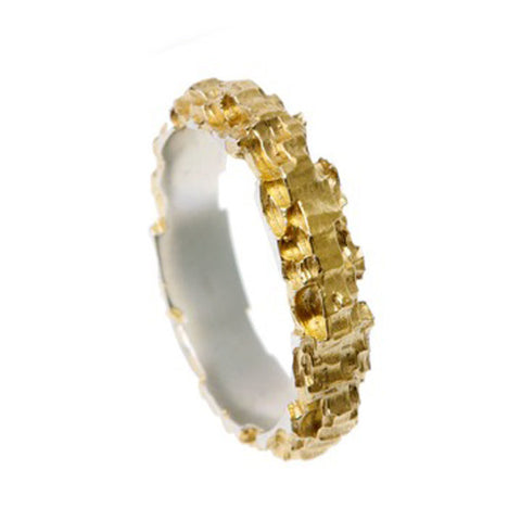 Luna Silver Gold Plated 5mm Ring