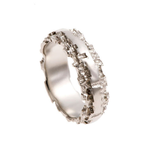 Luna Platinum 6mm Band with Diamonds