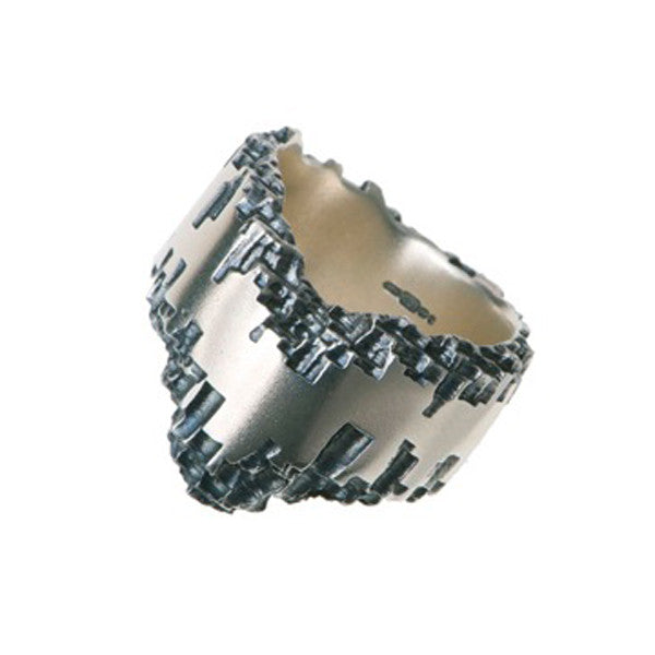 Luna Silver 14mm Wishbone Ring (Oxidised)