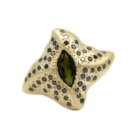 Manta Ray 9ct Gold Ring with Tourmaline and Black Diamonds