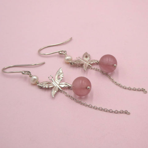 Naturist Silver Butterfly Drops with Cherry Quartz and Pearl
