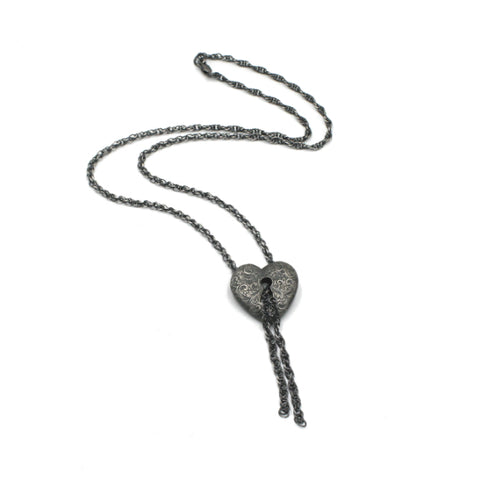 Silver Engraved Heart Padlock Drop Necklace