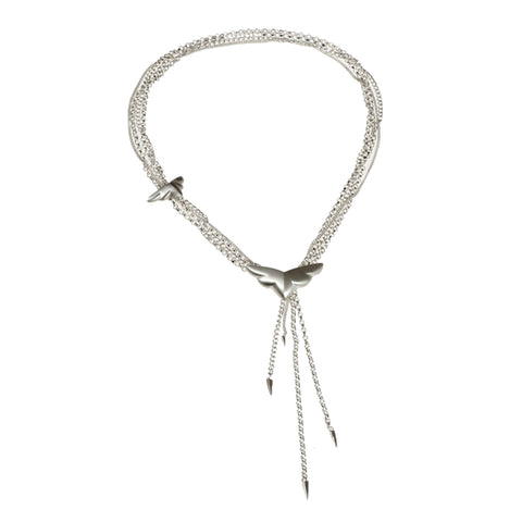 Phoenix Silver Lariat Necklace
