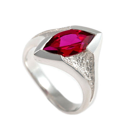 Libertine Synthetic Ruby Marquise Stone Set Ring