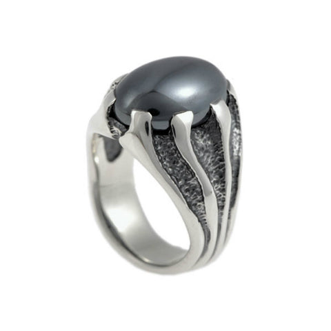 Libertine Silver Heavy Stone Set Hematite Ring