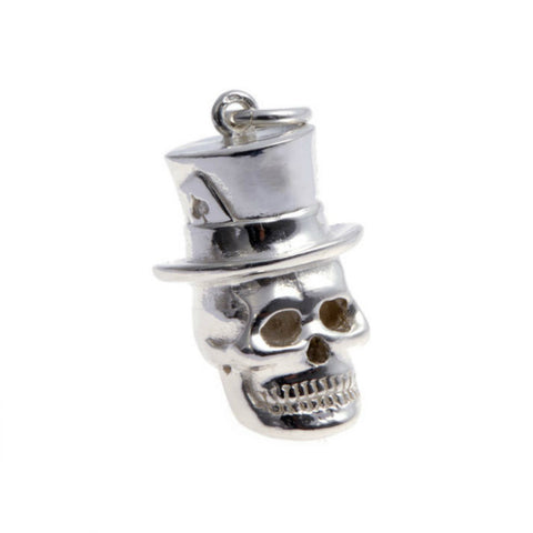 Silver Skull In A Hat Charm