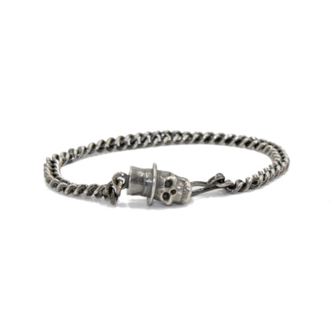Skull in Top Hat Silver Bracelet