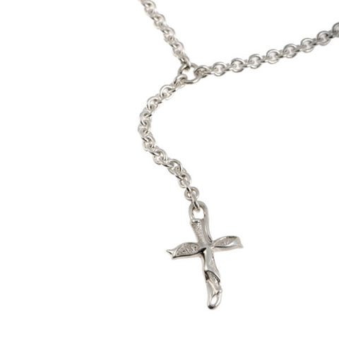 Libertine Silver Cross Drop Necklace