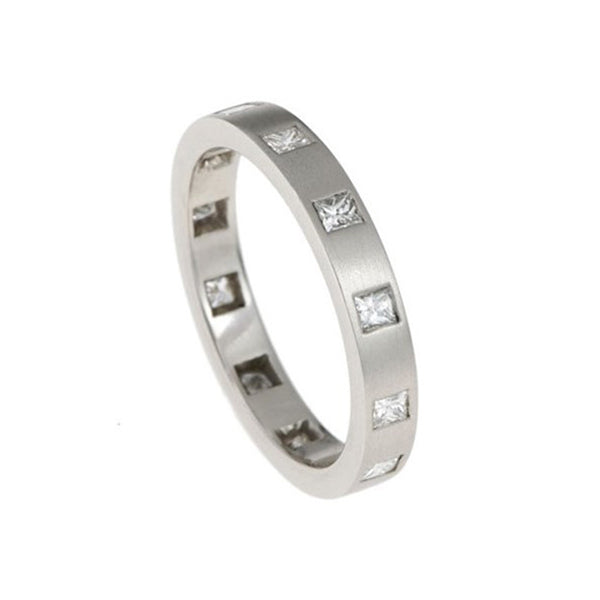 Blue Platinum Princess Cut Diamond Eternity Ring