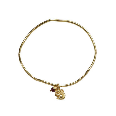 Woodland Creatures Silver Gold Plated Bangle With Tiny Acorn And Squirrel Charms